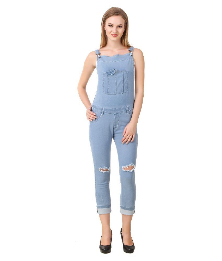 Cali Republic Denim Lycra Jeans Dungarees - Blue