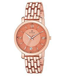 Titan Stainless Steel Round Womens Watch