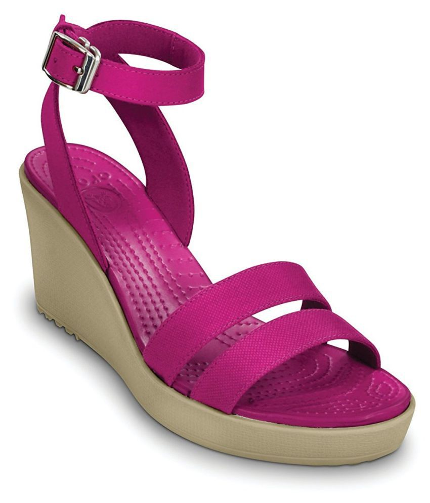Crocs Pink Wedges Heels