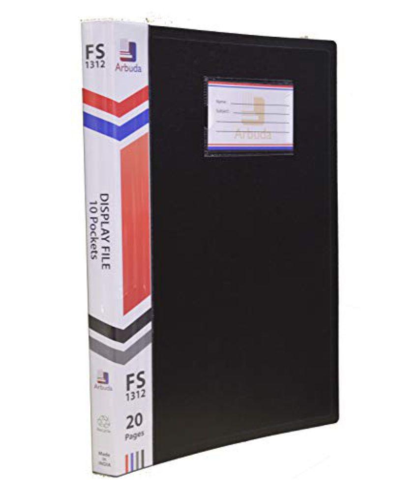 Display Book Arbuda Clear Folder Plastic File Display Presentation File 10 Pockets Black Colour Pack of 6 Nos. F/S Size