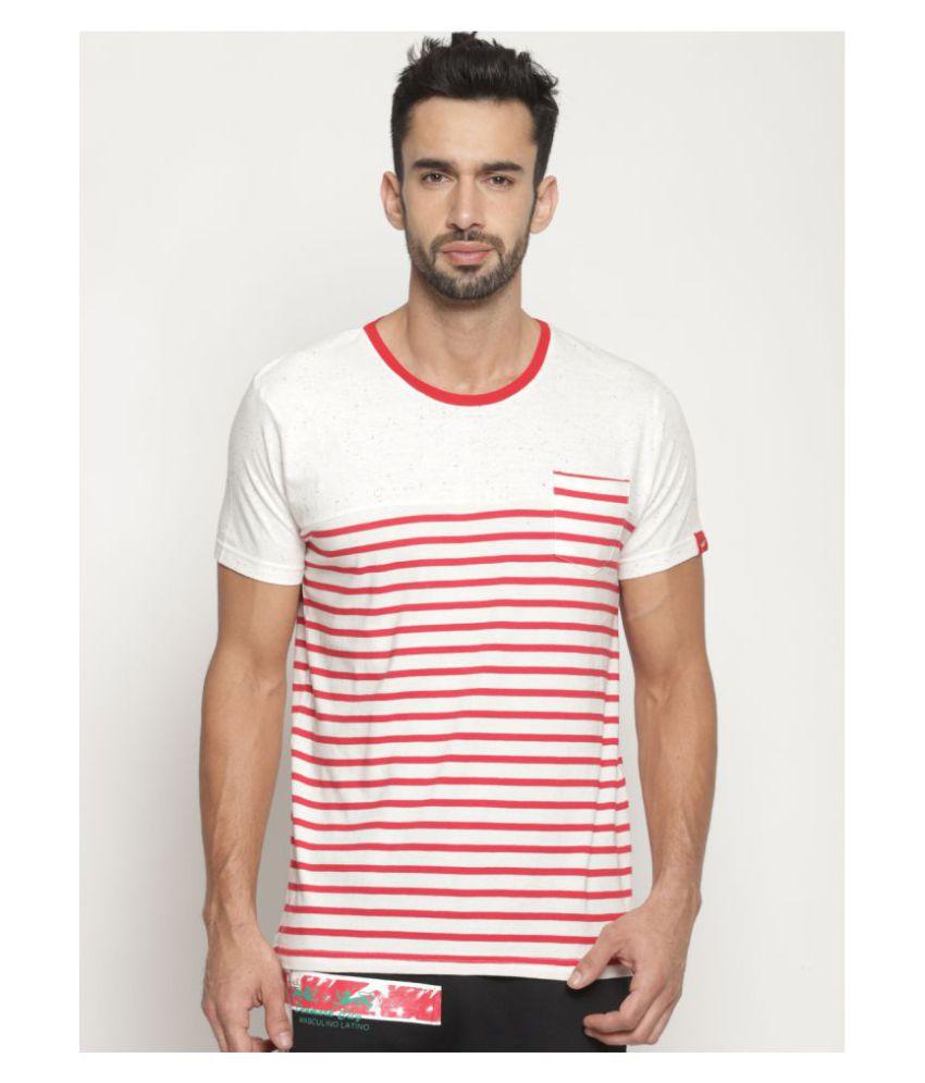 MASCULINO LATINO Cotton Blend White Printed T-Shirt