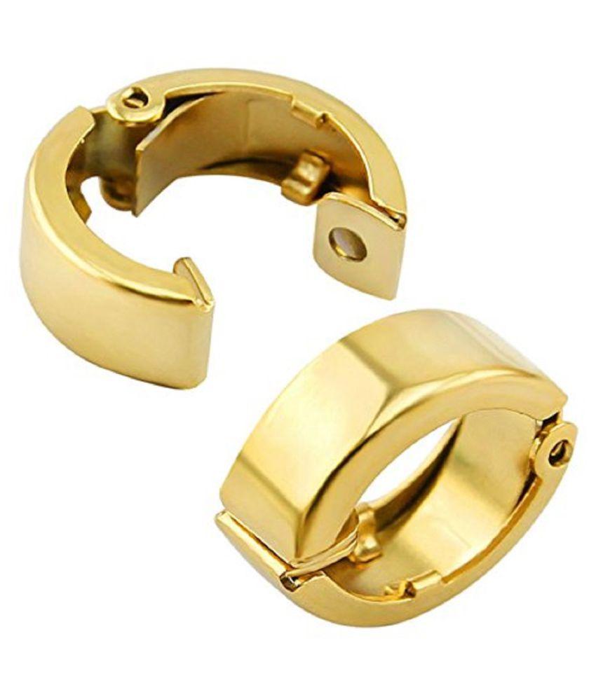 316L Stainless Steel Non Piercing Hoop Clip-on Stud Gold Color Earrings for Men & Women