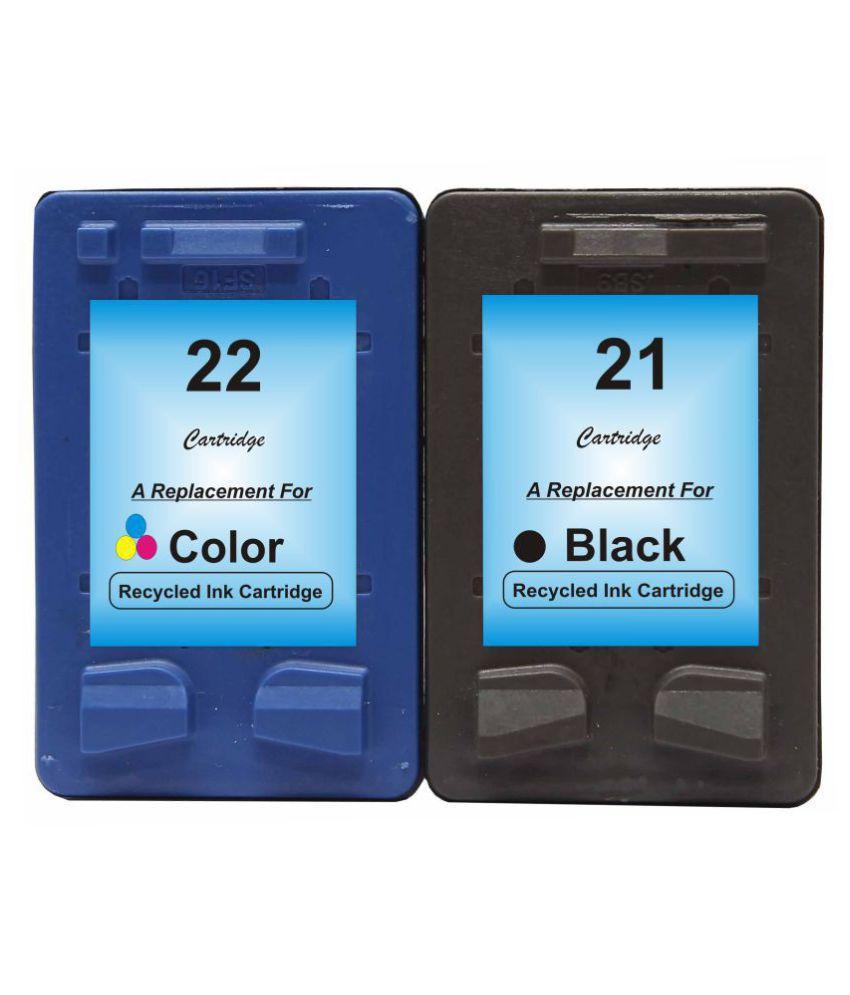RPS 21 Black & 22Color Multicolor Pack of 2 Cartridge for HP Deskjet D1360, D1460, D1550, D1560, D2360, D2460, 3920, 3940 Printers •HP Deskjet F370, F380,