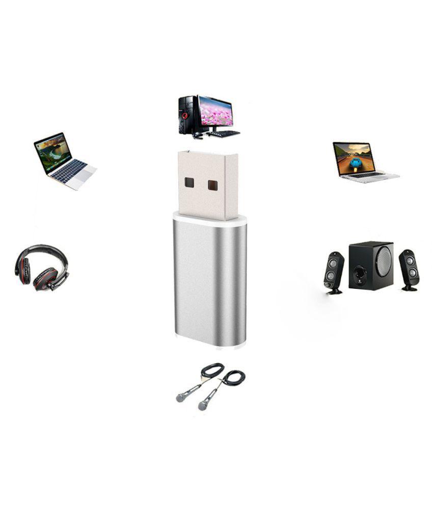 Aluminum 2.0 USB Audio 7.1Stereo External Sound Card Headset Microphone Adapter