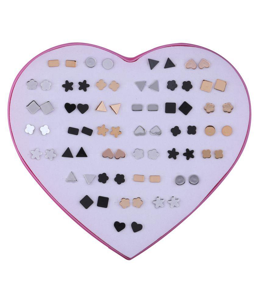 Silver Shine Black Rose Gold & Silver  Set of 36 Earrings for Women