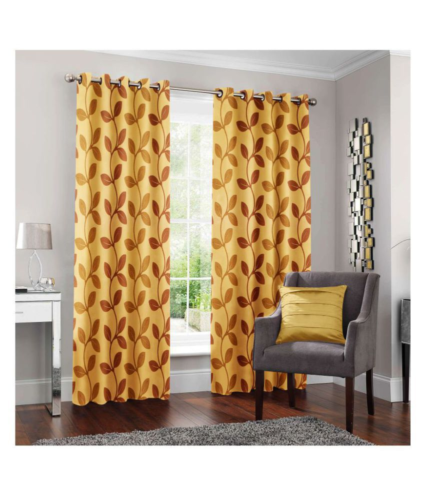 Story@Home Set of 2 Door Semi-Transparent Eyelet Polyester Curtains Beige