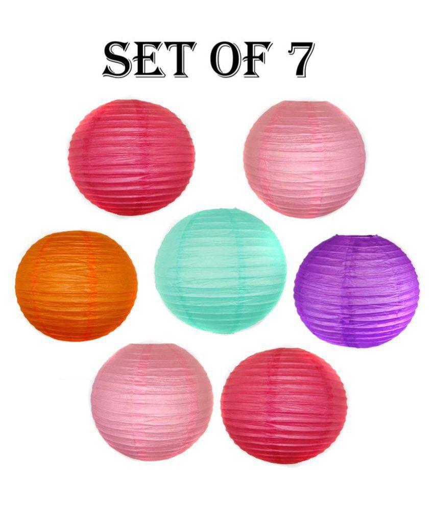 YUTIRITI Round Hanging Ball Paper Lantern Hanging Lanterns - Pack of 7