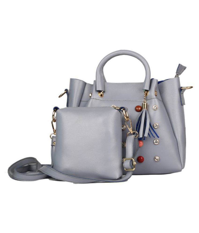 JCmart Gray Faux Leather Handbags Accessories