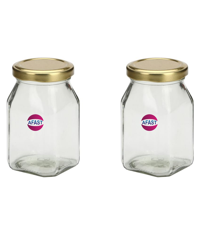 AFAST Transparent Jar Glass Oil Container/Dispenser Set of 2 300 mL