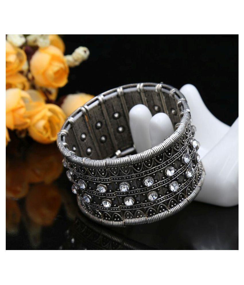 The Jewelbox® Tribal Tibetan Afghani Bohemian Oxidised German Silver Free Size Stretchable Bangle Bracelet Women