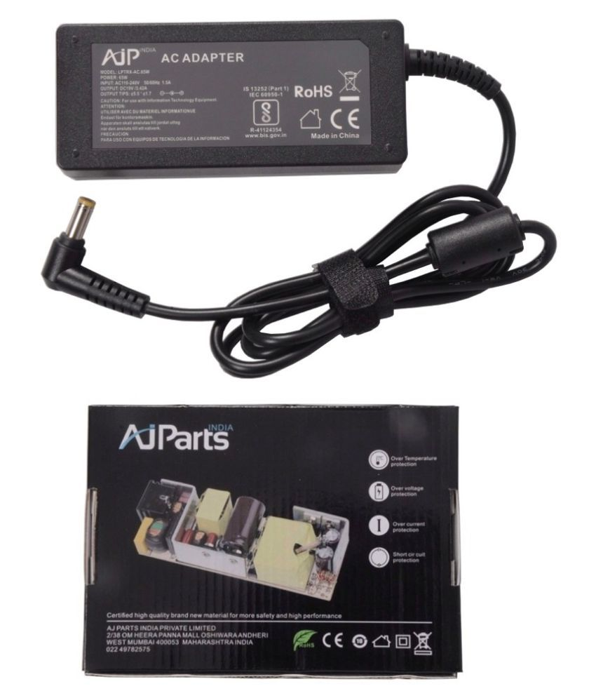 AJP India Laptop adapter compatible For Acer Aspire 5552G-N834G75MNKK 65W 19V 3.42A Power Supply Charger - Yellow Tip