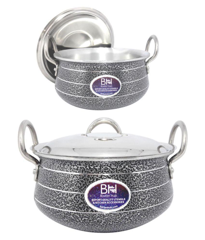 bartan hub Pot with lid 2 Piece Cookware Set