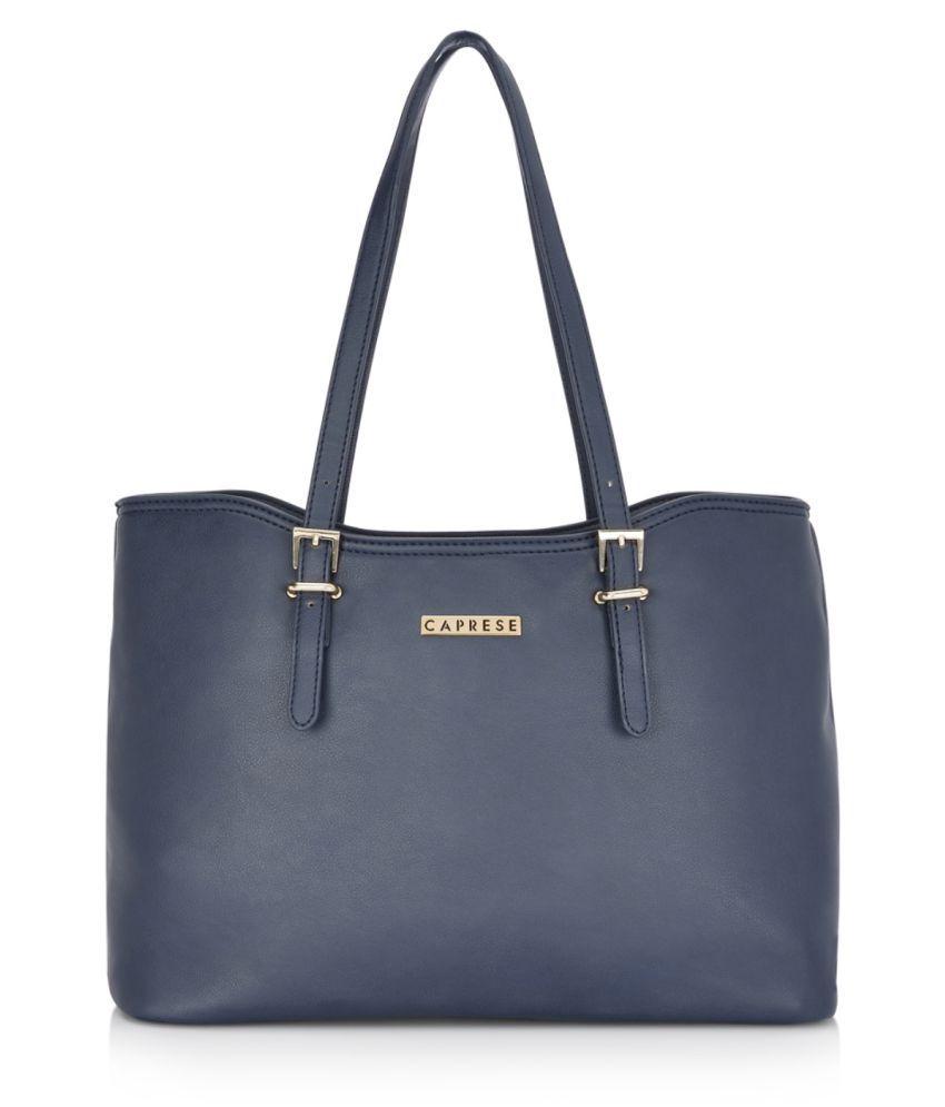 Caprese Blue Faux Leather Tote Bag