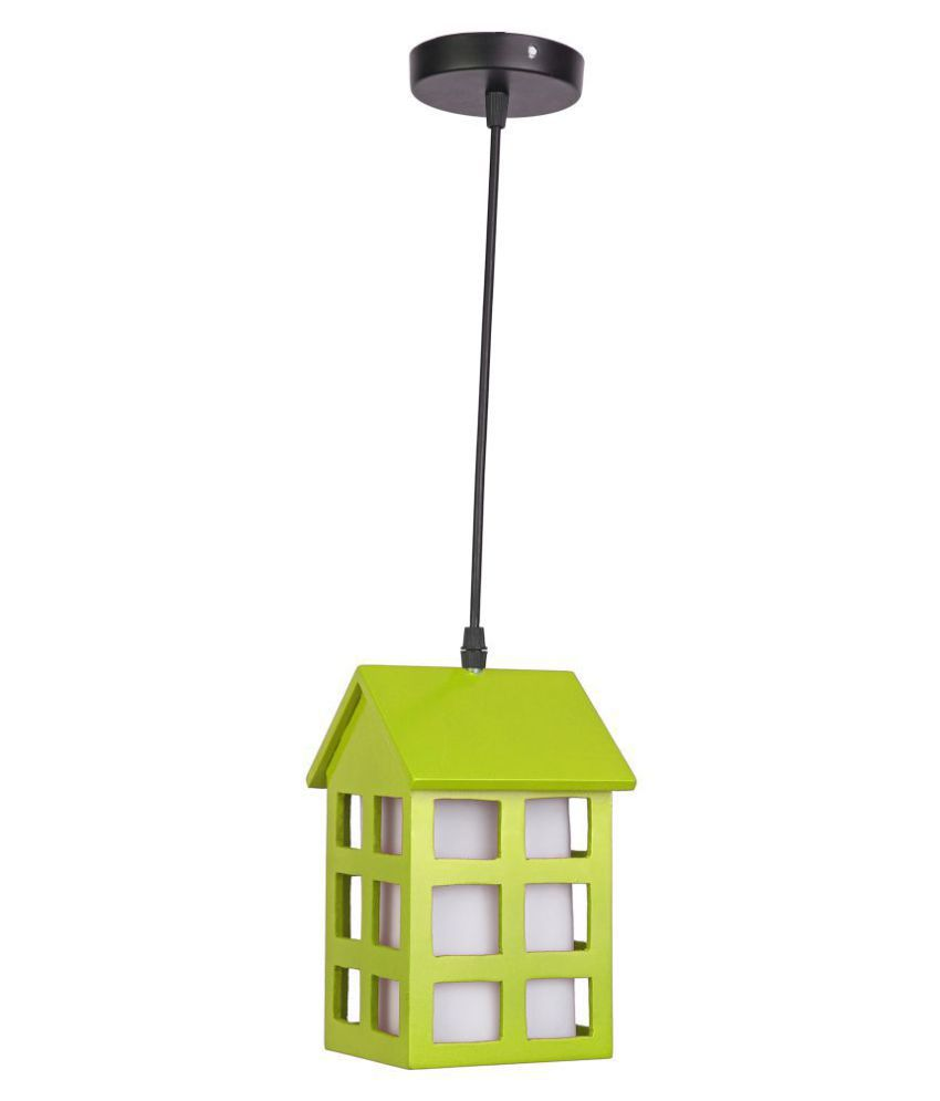 AFAST Wood Hut Shade Lamp Pendant Green - Pack of 1