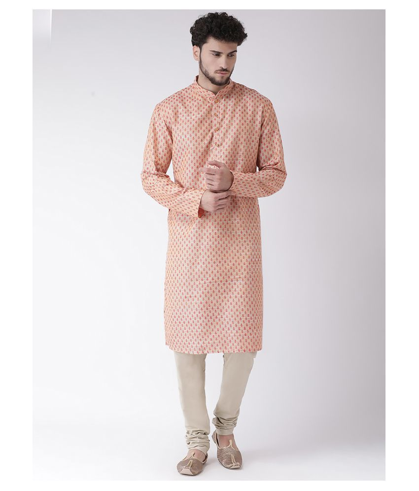 Tabard Red Cotton Kurta Pyjama Set