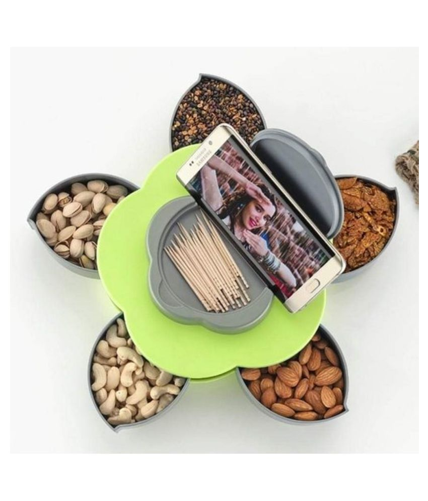 Multipurpose 5 compartment Roating Serving Dry Fruit, Chocolate Candy Box