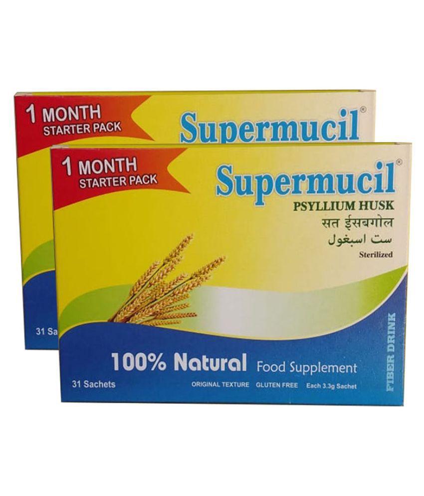 SUPERMUCIL Monthly Pack 31 Sachets of Psyllium Husk Powder 102 gm Pack Of 2