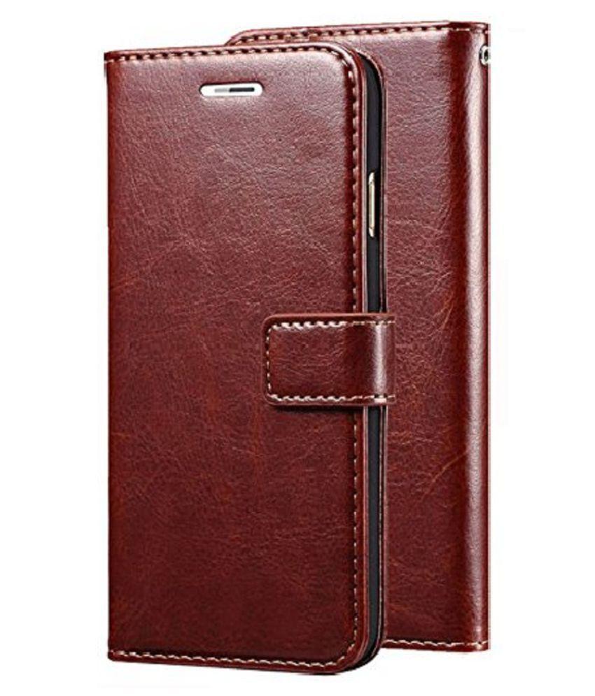 Samsung Galaxy M40 Flip Cover by Kosher Traders - Brown Original Vintage Look Leather Wallet Case