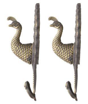 1 Pair Peacock Drapery Curtain Tiebacks Holdback Bag Coats Wall Door Hooks