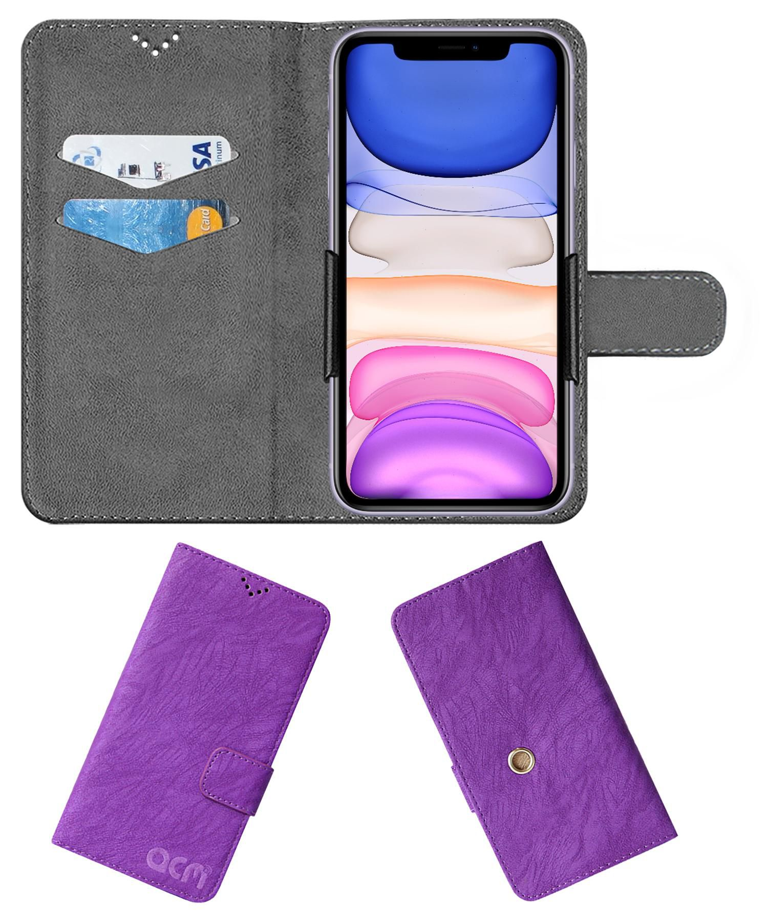 Apple Iphone 11 Flip Cover by ACM - Purple Clip holder to hold your mobile securely