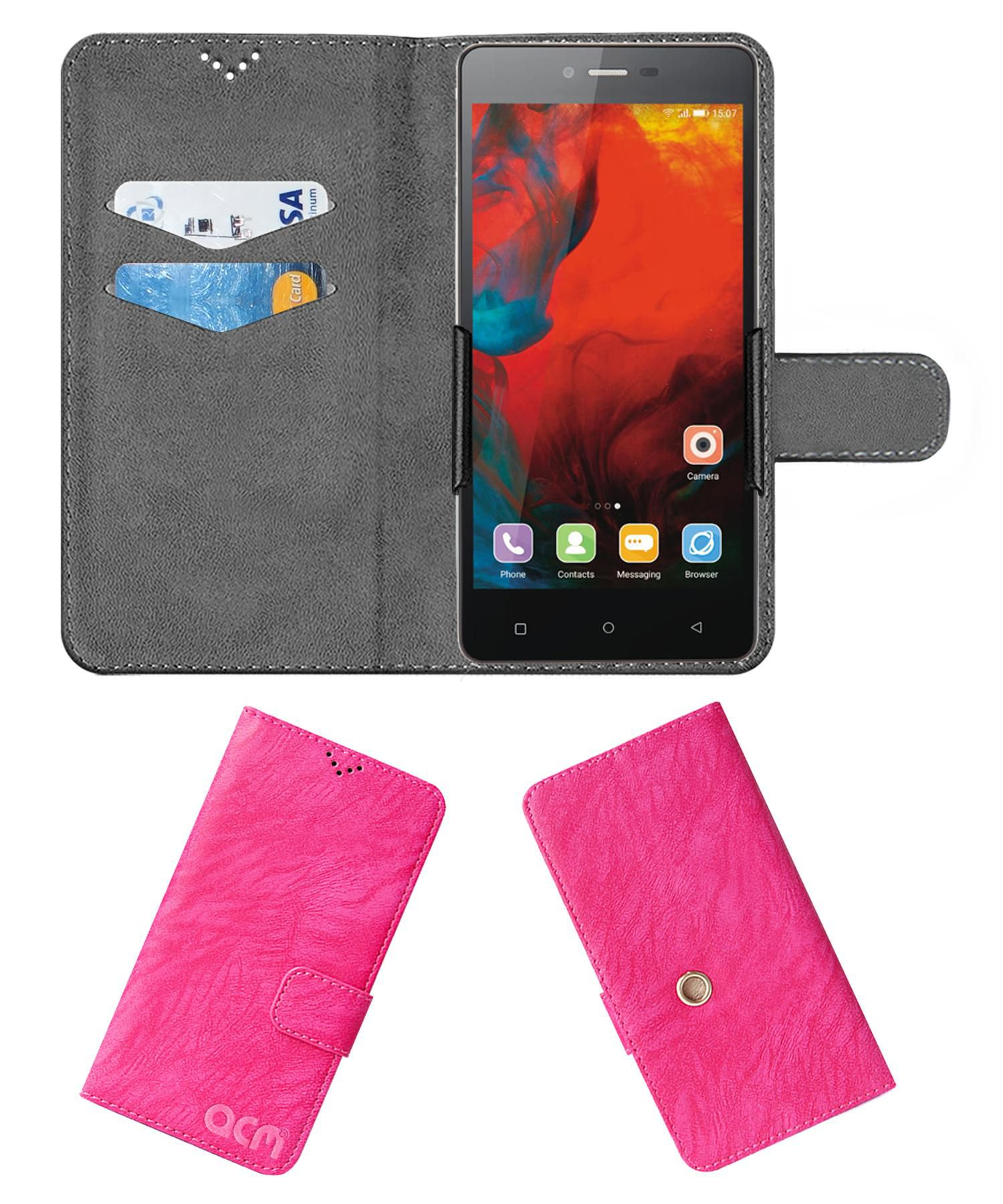 Gionee F103 Flip Cover by ACM - Pink Clip holder to hold your mobile securely