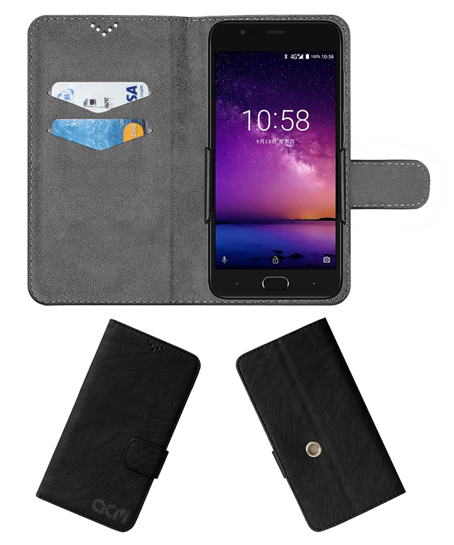 InFocus A3 Flip Cover by ACM - Black Clip holder to hold your mobile securely