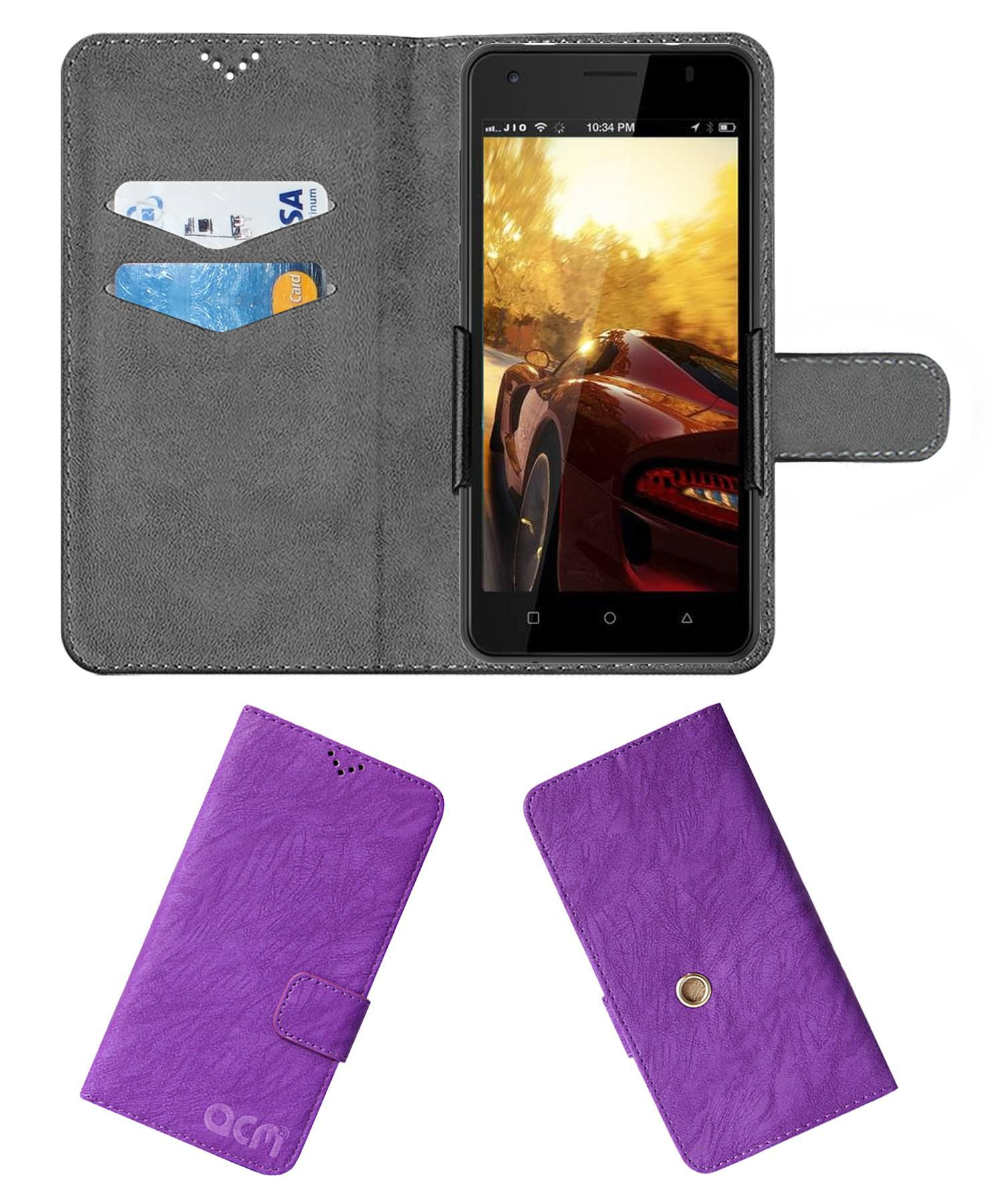 Ivoomi Me 5 Iv 505 Flip Cover by ACM - Purple Clip holder to hold your mobile securely