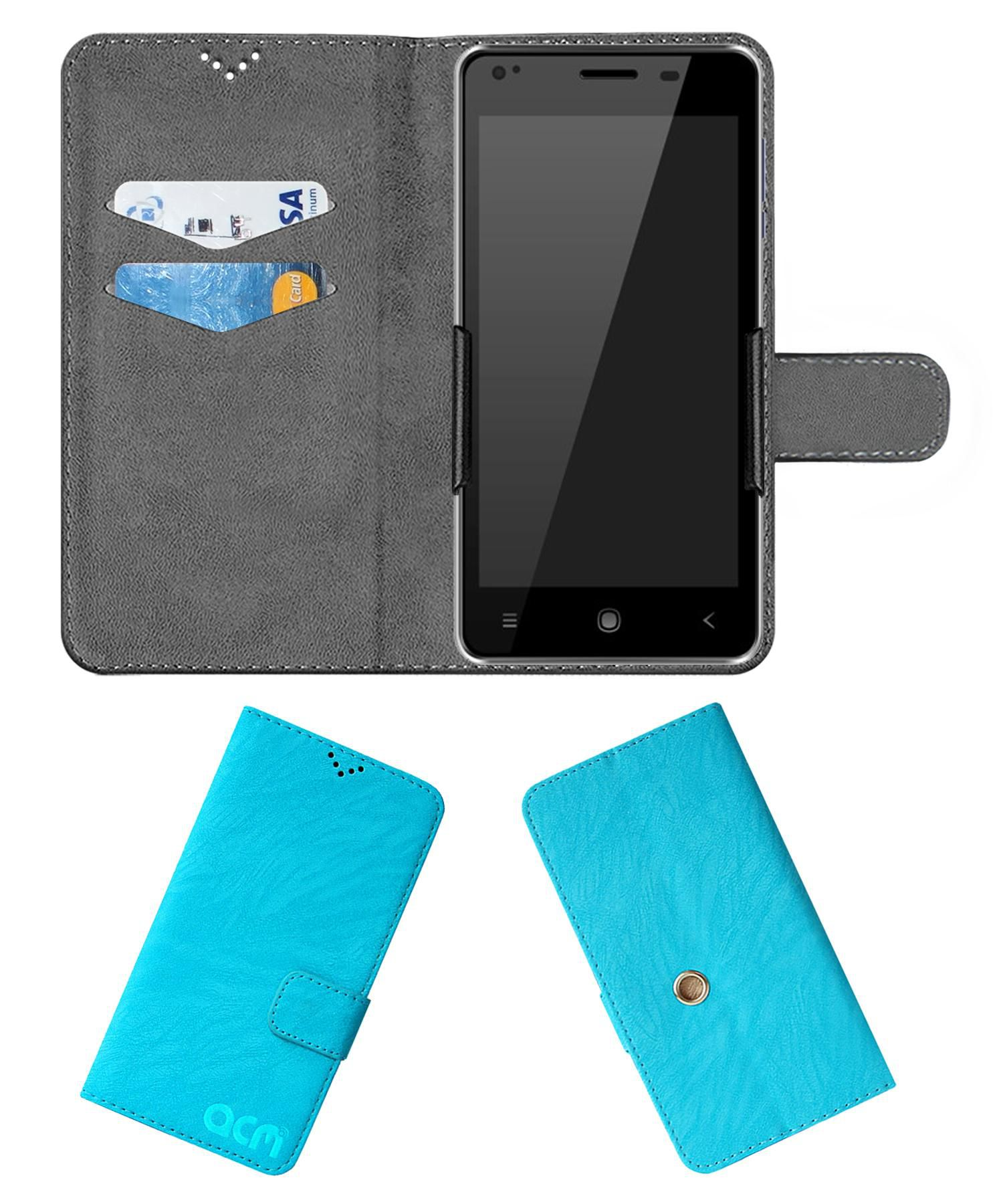Videocon Infinium Z51 Nova Flip Cover by ACM - Blue Clip holder to hold your mobile securely