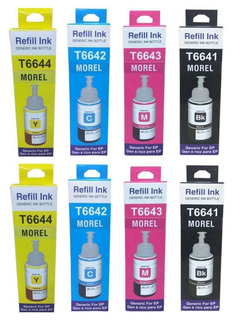 Morel INKJET INKTANK INK Multicolor Pack of 8 Ink bottle for Epson L100 L110 L200 L210 L300 L350 L355 L550 Printer Color Cyan, Majenta, Yellow, Black