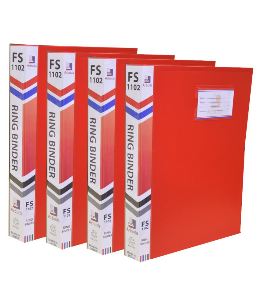Ring Binder File Arbuda Strong and Durable 2D Type Ring Clip File (Red) Pack of 4 Pcs.F/S Size
