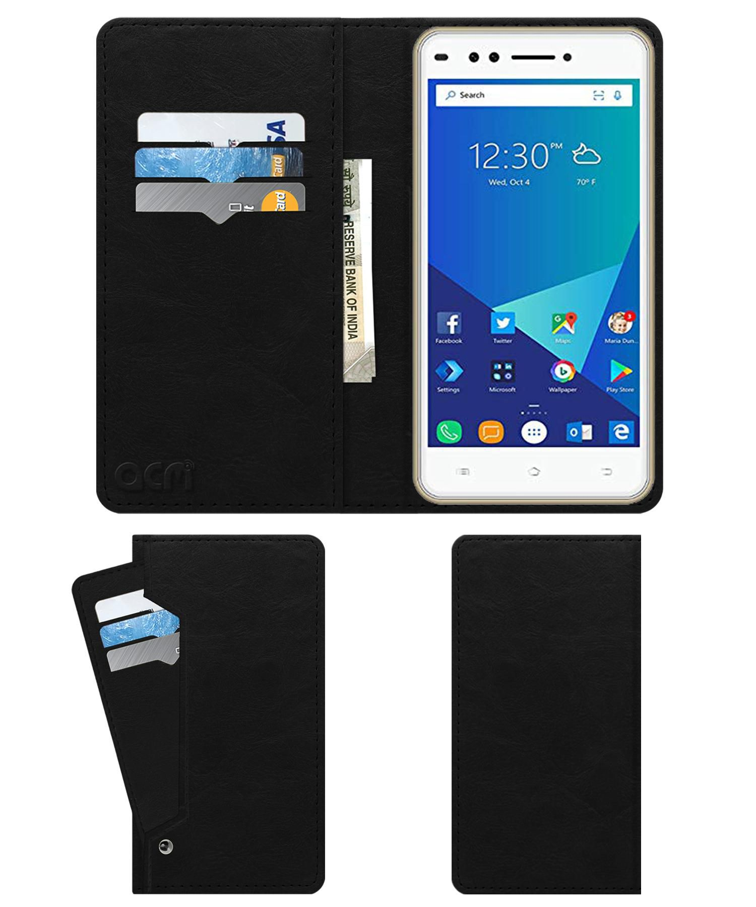 Forme R7 Flip Cover by ACM - Black Wallet Case,Can store 6 Card & Cash,Royal Black