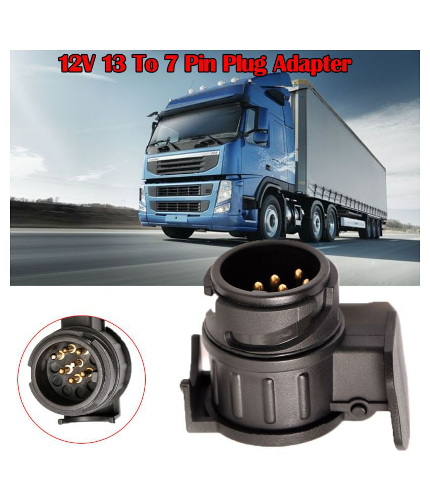 Ring 7 Pin Plug 12V 12N Plastic Black Road Lights Connector Caravan Trailer