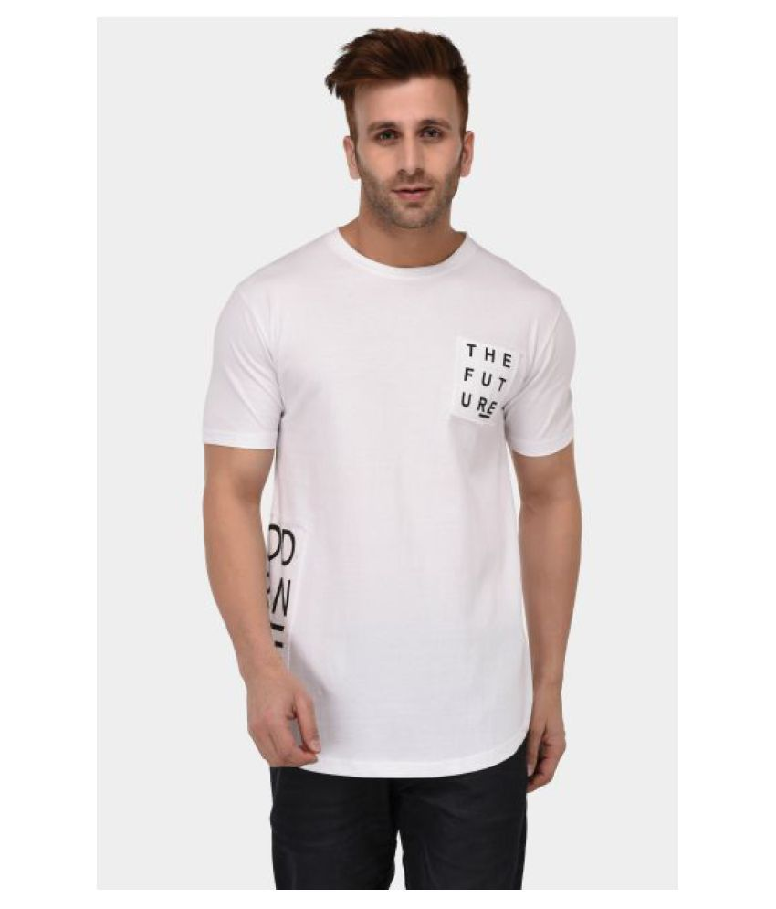 Bombay Clothing Company Cotton Blend White Printed T-Shirt
