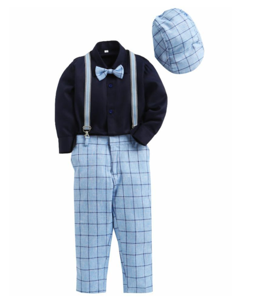 Jeetethnics Blue Silk Boys Suspender Suit Set