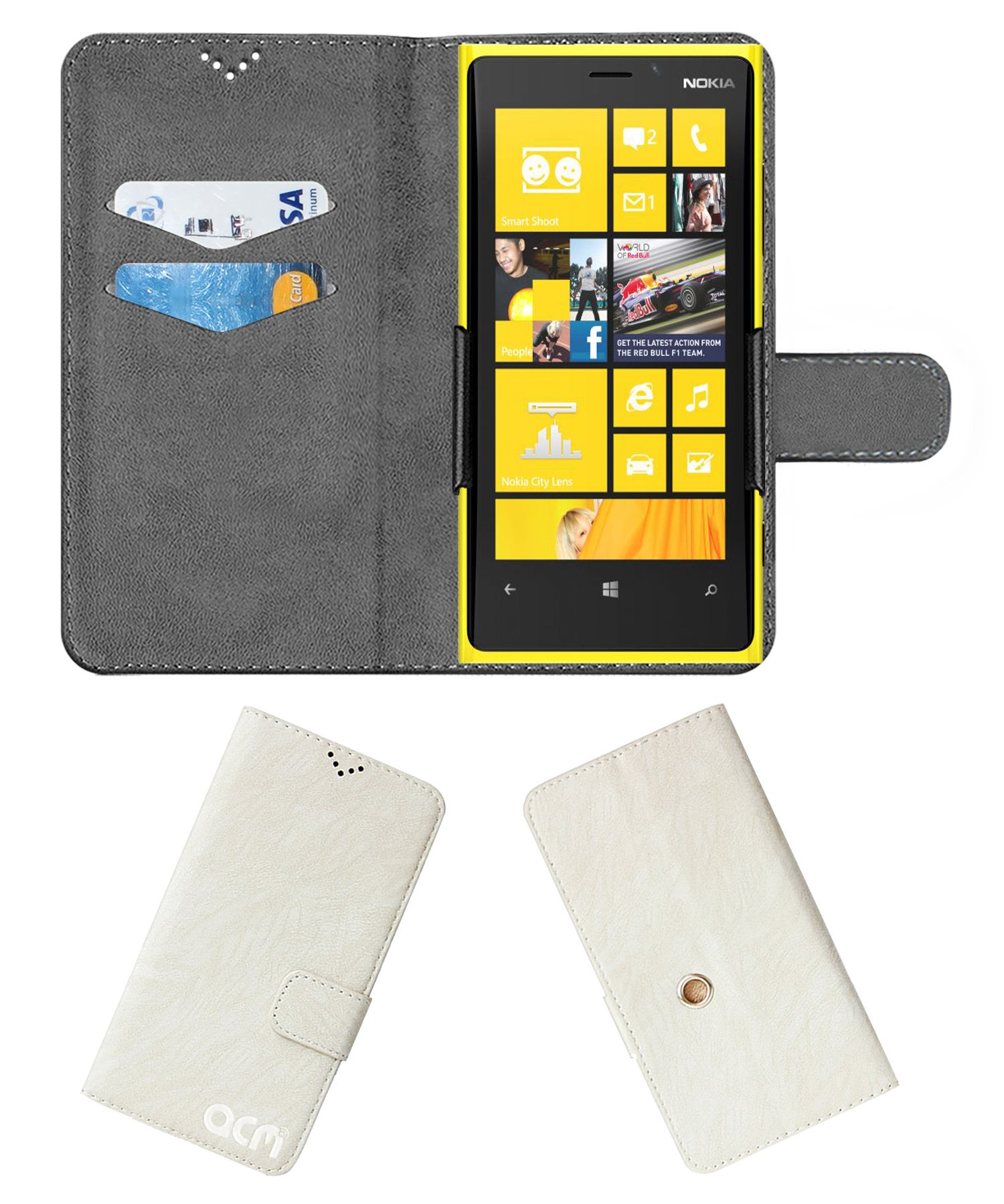 Nokia Lumia 920 Flip Cover by ACM - White Clip holder to hold your mobile securely
