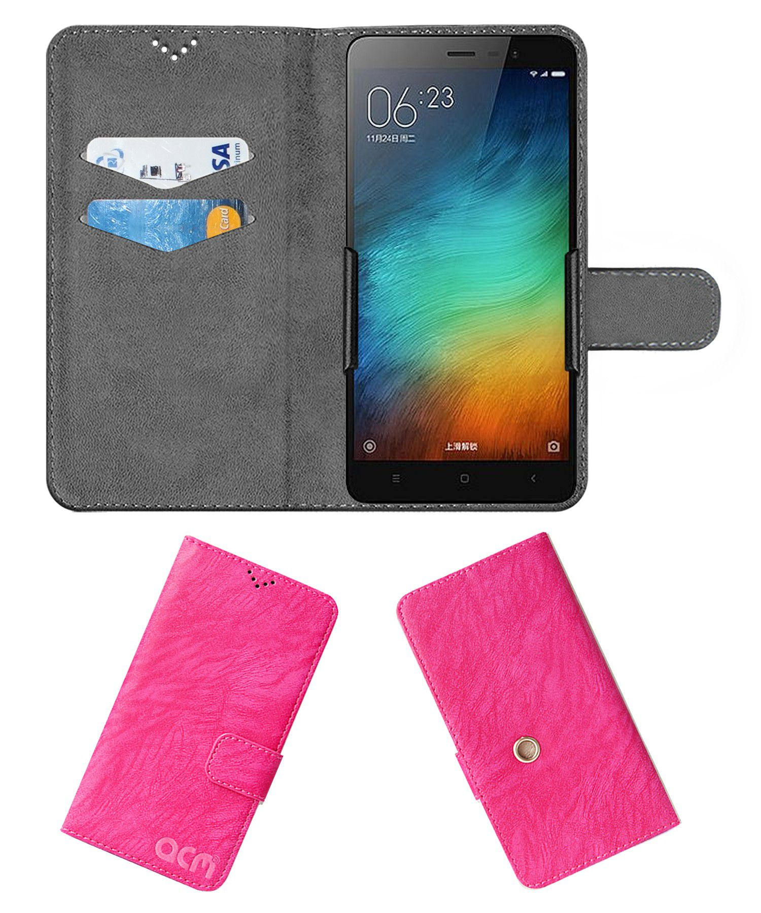 Xiaomi Redmi 3s Plus Flip Cover by ACM - Pink Clip holder to hold your mobile securely