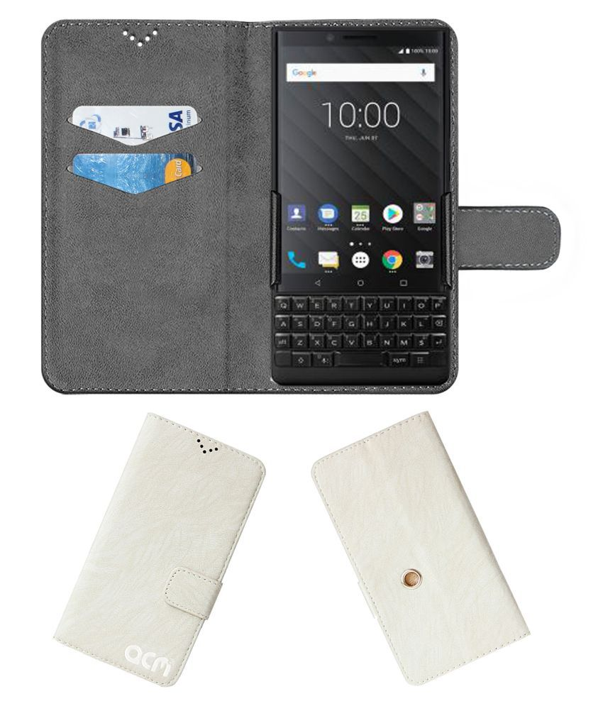 Blackberry KEY2 Flip Cover by ACM - White Clip holder to hold your mobile securely