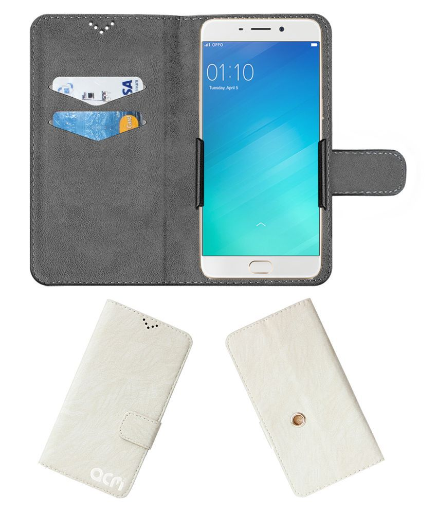 Oppo F1 Plus Flip Cover by ACM - White Clip holder to hold your mobile securely