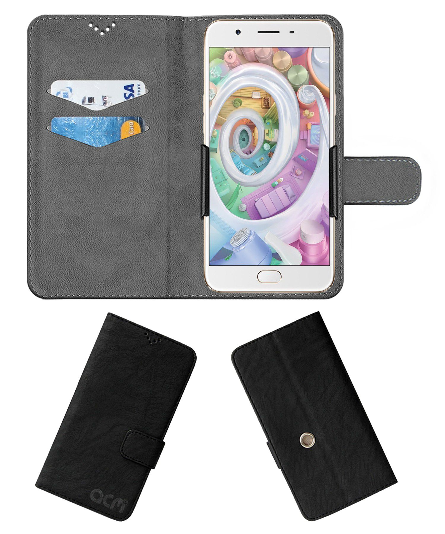 Oppo F1s Flip Cover by ACM - Black Clip holder to hold your mobile securely