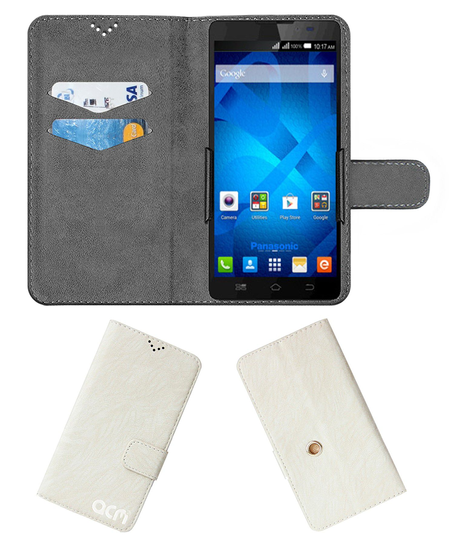 Panasonic P81 Flip Cover by ACM - White Clip holder to hold your mobile securely