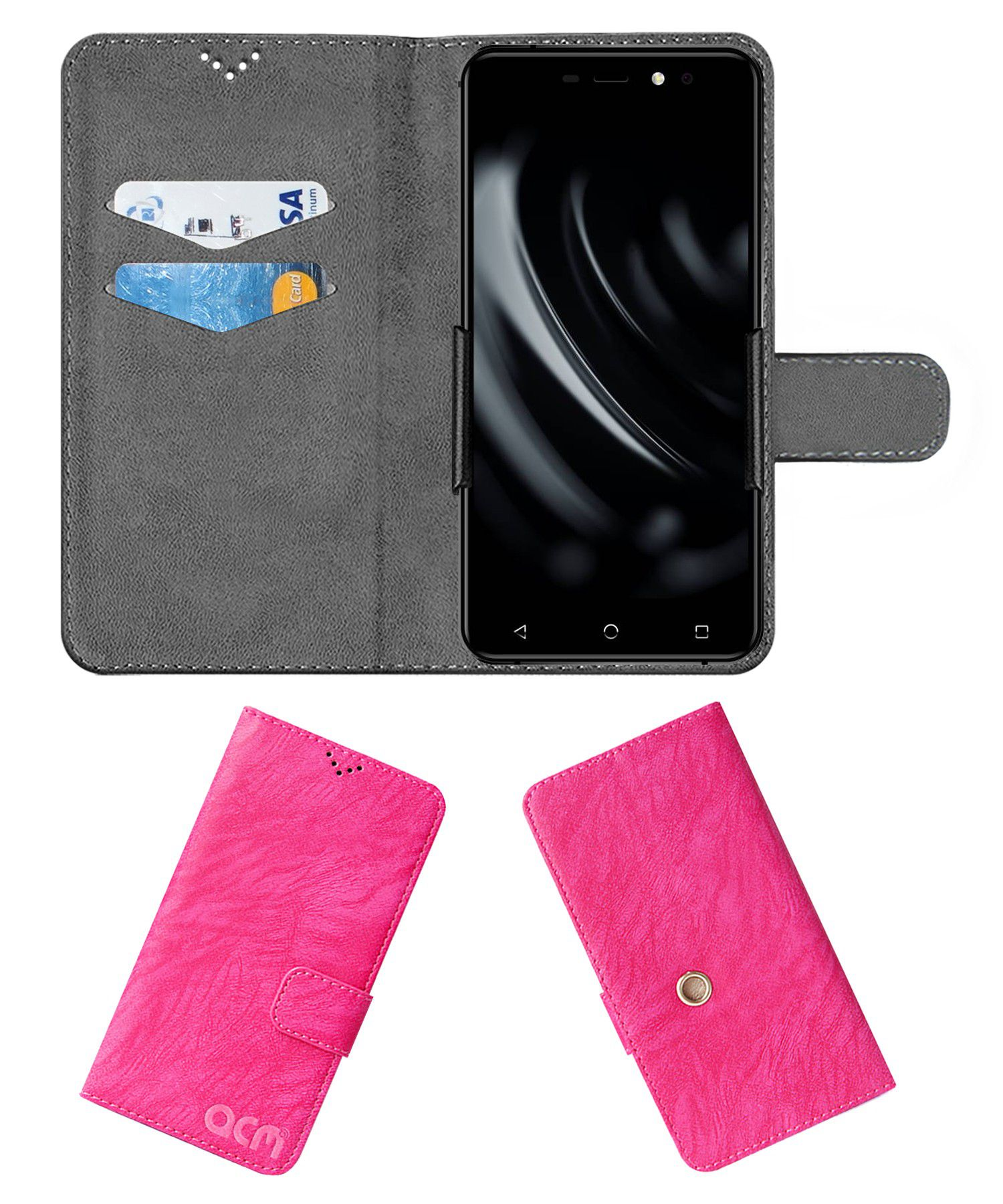 Yuho H2 Flip Cover by ACM - Pink Clip holder to hold your mobile securely