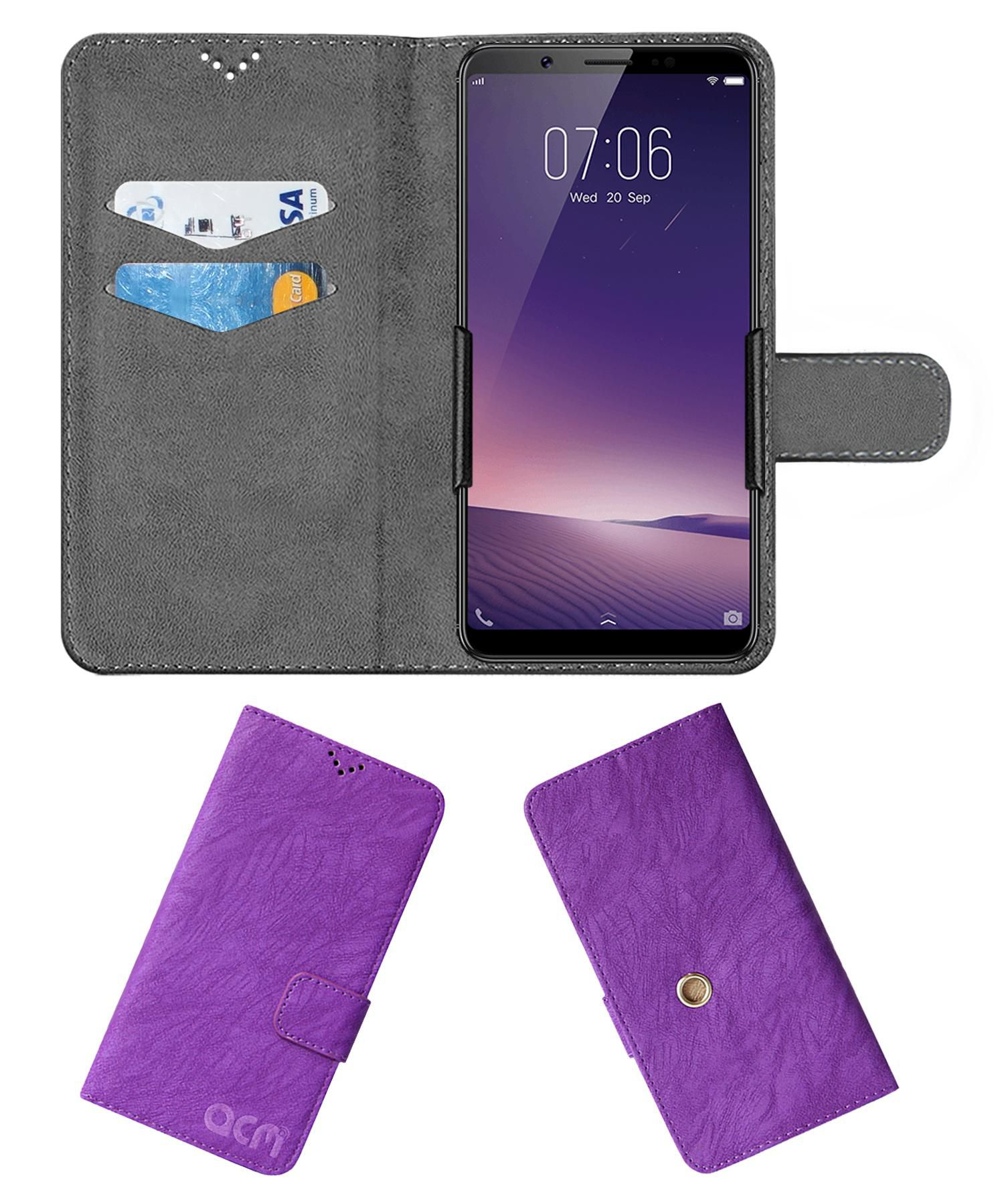 vivo V7 plus Flip Cover by ACM - Purple Clip holder to hold your mobile securely