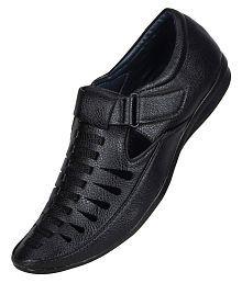 Yala Black Synthetic Leather Sandals