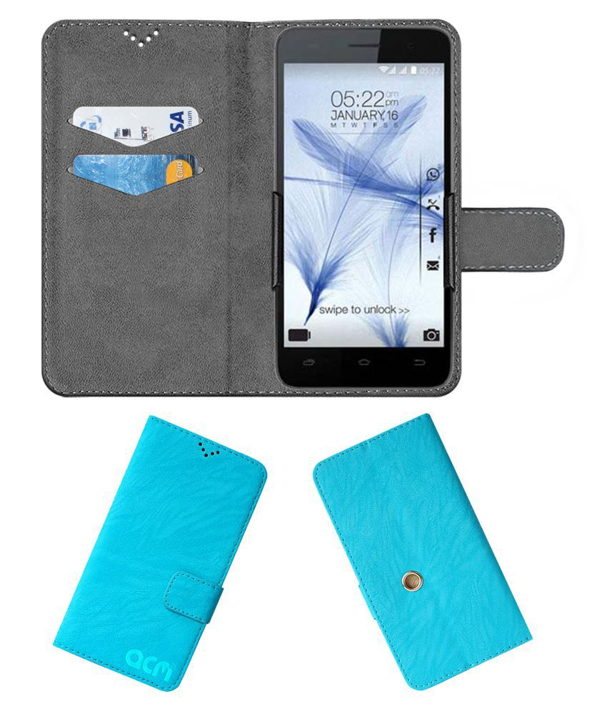 Karbonn Titanium Mach Two S360 Flip Cover by ACM - Blue Clip holder to hold your mobile securely