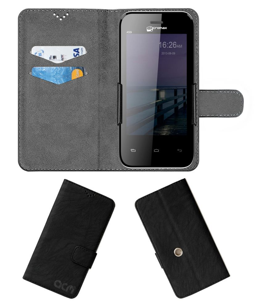 Micromax Bolt A59 Flip Cover by ACM - Black Clip holder to hold your mobile securely