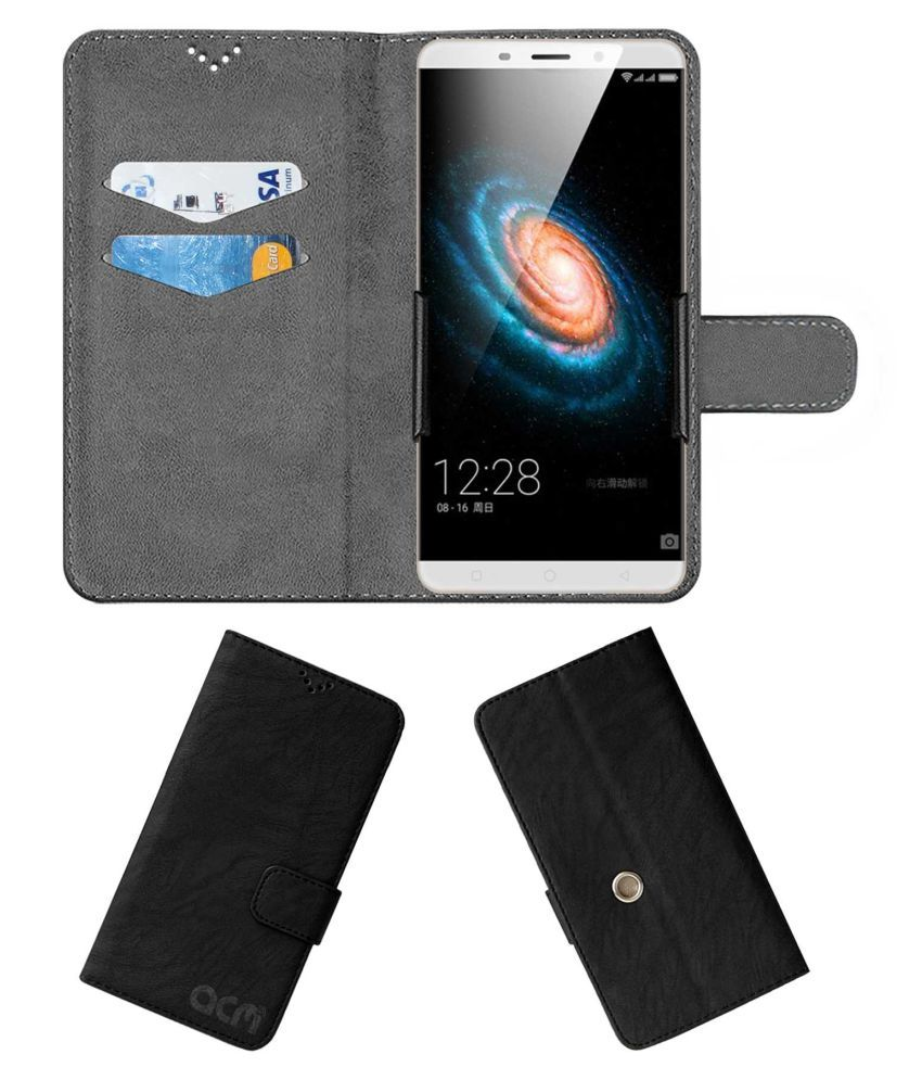 Qiku Q terra Flip Cover by ACM - Black Clip holder to hold your mobile securely
