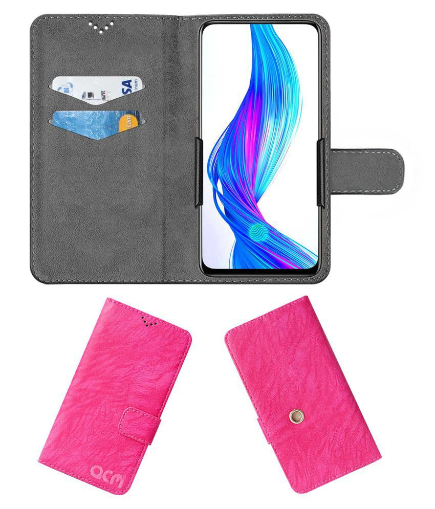 Realme X Flip Cover by ACM - Pink Clip holder to hold your mobile securely