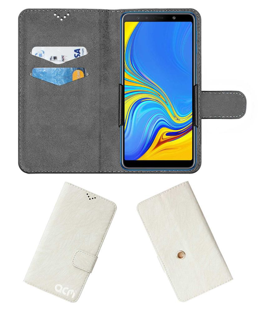 Samsung Galaxy A7 2018 Flip Cover by ACM - White Clip holder to hold your mobile securely