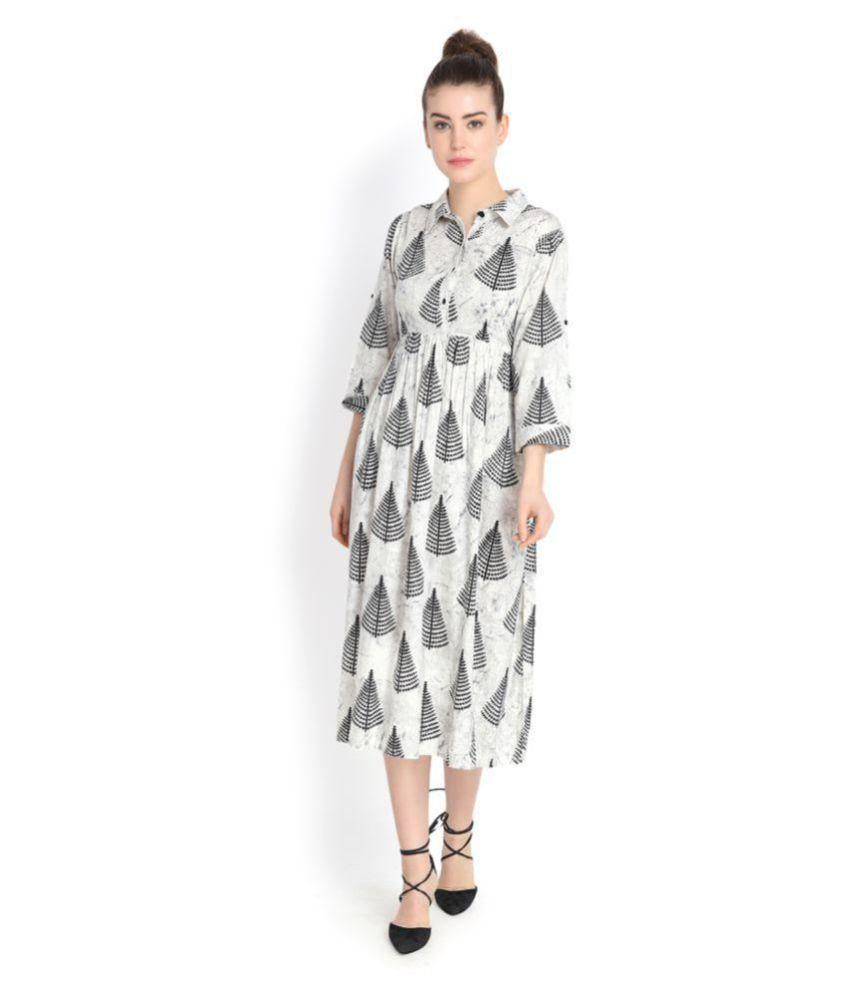 Color Cocktail Rayon White Shirt Dress