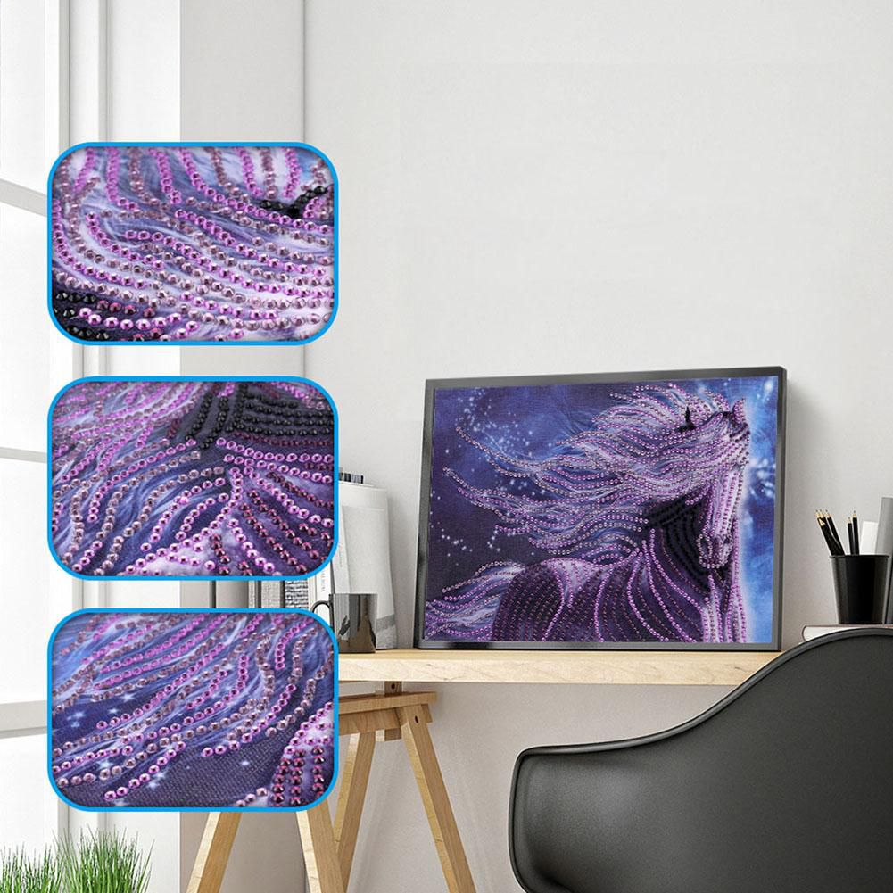 5D DIY Special Shaped Diamond Painting Purple Horse Cross Stitch Embroidery